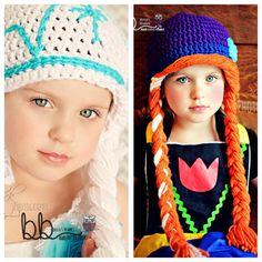 Frozen - Ana & Elsa Combo crochet beanie - all sizes - made to order