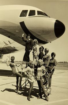 Vintage Photos of Pacific South West Airlines Flight Attendants ~ Cabin Crew Photos