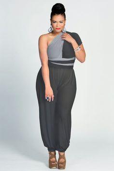 Gray Plus Size Jumpsuit #UNIQUE_WOMENS_FASHION