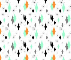 Colors: Orange, Seafoam Green & Black with various shades of Greys.