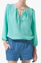 niiiice  Green V Neck Long Sleeve Ribbons Shirt $26.88
