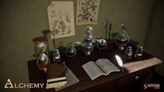 Alchemy Lab contains high quality PBR prefabs suitable for medieval or fantasy alchemy lab, study room, or a natural scientists's chamber. Lab Image, Alchemy, Unity, Medieval, Scientists, Study, Fantasy, Halloween, Google Search