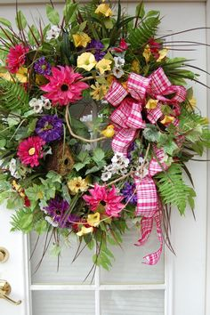 spring and summer wreaths | Spring and Summer Wreath by HangingTouches on Etsy, $169.00