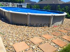 Most semi inground pools can be installed up to halfway in the ground. #pool #semi #install #backyard #landscape