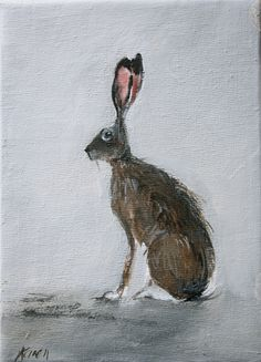 Hare painting 7 x 5. $45.00, via Etsy.