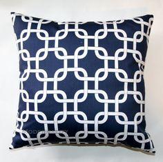 Premier Prints Navy Gotcha Pillow Cover- 16x16 inches- Hidden Zipper Closure. $16.95, via Etsy.