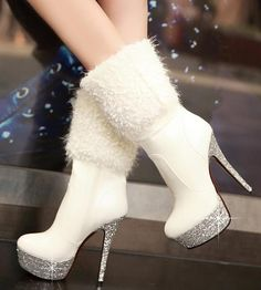 White Shining Platform Patent Leather Ankle Stiletto Heel Boots 3