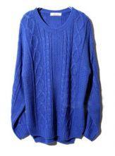 Blue Long Sleeve Geometric Pullovers Sweater $46.45