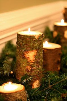 Use a dremel to empty the middle of a stump and fill it with wax, add some fir scent to it!