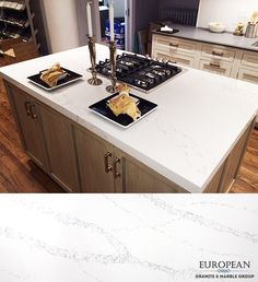 Our non-porous quartz line is resistant to scratches, heat, stains and water. This makes it perfect for any countertop.  Seen here is 'Statuario' quartz which has a natural white marble look with sable-colored veining.qu