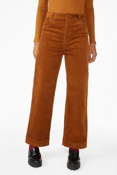 Wide leg corduroy trousers - Desert orange - Trousers & shorts - Monki GB