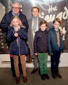 Belgium Prince Laurent and Princess Claire with (L-R) Princess Louise, Prince Nicolas and Prince Aymeric attend the Flemish premiere of Irish Oscar nominated film 'Song of the Sea' at the opening of the Youth film festival in Antwerpen 14-02-2015