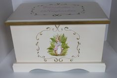Keepsake Chest Memory Box personalized baby  Bunny by staciedale, $265.00