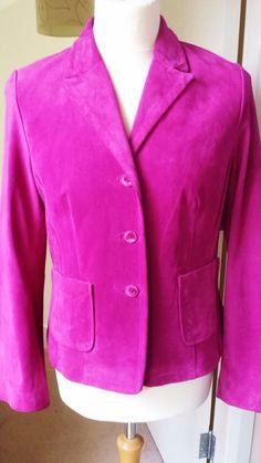 #BenSherman Suede #Leather Blazer Jacket Size 12 - 14 Women s Ladies Cerise Pink