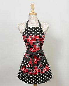 Black and Red UTES Apron Utah Utes squares with by apronqueen, $28.95