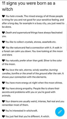 11 signs you were born as a witch Wiccan Magic, Wiccan Witch, Magick, Spells For Beginners, Witchcraft For Beginners, Witch Spell Book, Witchcraft Spell Books, Witches Facts, Eclectic Witch