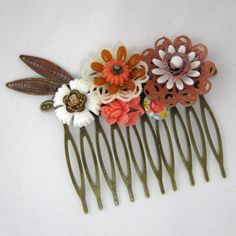 Autumn fall Vintage Bridal Hair Comb in orange, brown and coral  - Collage Wedding Hair Piece on Etsy, 197,18 kr