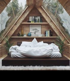 Home Interior Design — Beautiful Bedroom - design modern small tiny house Tiny House Cabin, Tiny House Design, Cabin Homes, Contener House, Design Homes, Tiny Cabins, Attic Bedroom Designs, Attic Bedroom Small, A Frame Bedroom