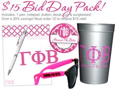$15 Bid Day Pack.  Includes a pen, notepad, button, decal, cup and paid of sunglasses. Available at CrescentCorner.com