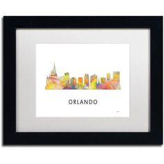 Trademark Fine Art 'Orlando Florida Skyline WB-1' Canvas Art by Marlene Watson, White Matte, Black Frame, Assorted