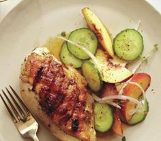 Grilled Chicken Breasts with Peach and Cucumber Salad | Real Simple