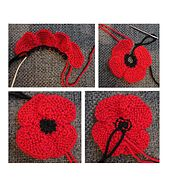 Sew Blankets Ravelry: knit flat, no-sew poppy pattern by Suzanne Resaul - Knitted Poppy Free Pattern, Knitted Flower Pattern, Knitted Poppies, Poppy Pattern, Knitted Flowers, Knitting Stitches, Knitting Patterns Free, Free Knitting, Sewing Patterns
