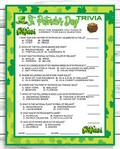 Saint Patricks Day Party Game, Instant Download St Patricks Trivia Gam – Enjoymyprintables St Patricks Day Spiele, St. Patricks Day, Saint Patricks, St Patrick's Day Trivia, Trivia Games, St Patrick's Day Games, Games For Kids, Trivia Questions And Answers, This Or That Questions