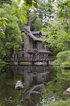 Adirondack - Custom handcrafted log homes by Maple Island Log Homes Gorgeous bridge! Adirondack - Custom handcrafted log homes by Maple Island Log Homes Beautiful Homes, Beautiful Places, Beautiful Life, Amazing Places, Haus Am See, Log Cabin Homes, Log Cabins, Rustic Cabins, Cottage Homes
