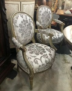 "Fabulous 18th Century Fauteuil Chairs   Gray and White Damask Pattern   Four Chairs Available   22"" Wide x 18"" Deep x 34"" High  $3395 Pair   Grace Designs at Forestwood Dealer #333  Fores"