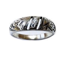 Band Ring Diamond Engraved Leaf Sterling Silver by expressyourself,
