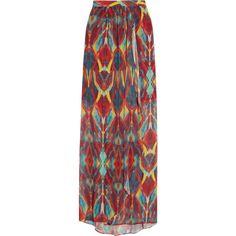 Alice + Olivia Miabella printed chiffon maxi skirt found on Polyvore