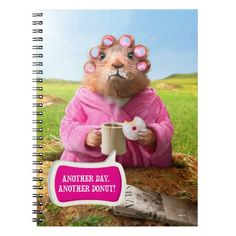Morning Groundhog with Breakfast Donut and Coffee Spiral Notebook