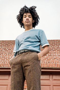Luka Sabbat in a Wales Bonner T-shirt, $180, at openingceremony.com. Raf Simons pants. MHL by Margaret Howell belt, $155, at margarethowell.co.uk. (Photo: Clement Pascal for The New York Times)