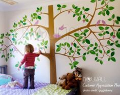 Tree Wall Decals Nursery Cherry Stencil White Sticker Giant Mural And Birds Decal Swing On A 21