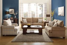 Modern Brown Fabric Sofa Couch Loveseat Chair Pillows Living Room Set