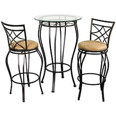 @Overstock - Eye catching and intricately designed, this black bistro dining set will add a generous dose of style to your kitchen or bar. Inspired by a European cafe atmosphere, these lattice-back stools are super comfortable as well as striking.http://www.overstock.com/Home-Garden/Web-Bistro-Dining-Set/2918661/product.html?CID=214117 $207.99