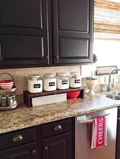Black Kitchen Cabinets Makeover Reveal wooden counter top is a good idea for Bl… – Cheap Kitchen Cabinets Tips Cheap Kitchen Cabinets, Kitchen Cabinet Remodel, Painting Kitchen Cabinets, Wood Cabinets, Black Cabinets, Cherry Cabinets, Kitchen Cabinetry, Big Kitchen, Kitchen Design