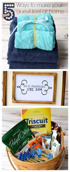 A list of 5 tips to make an overnight guest feel at home. Includes fresh towels and toiletries, snacks, coffee and more!