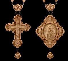 Panagia Mother God of Pochaev Priest Pectoral Cross award Carved wooden Crucifix