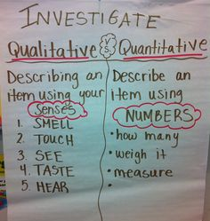 I introduced my students to qualitative and quantitative date from the first week of school. Students would make their own qualitative and . 8th Grade Science, Elementary Science, Science Classroom, Teaching Science, Science For Kids, Science Activities, Elementary Schools, Classroom Ideas, Science Lessons