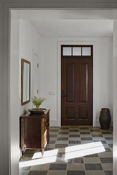 wood door, white trim