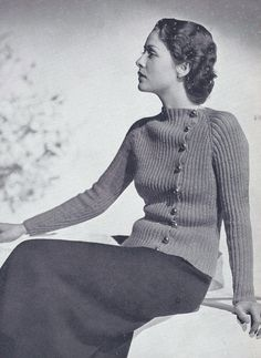 Vintage Knitting PATTERN to make 30s Two-Piece Suit Jacket Sweater Skirt StAndr #VintageHomeArts