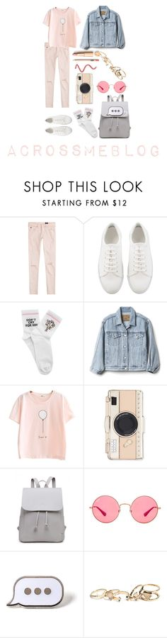 """Pink Thursday"" by hadahgoncalves on Polyvore featuring AG Adriano Goldschmied, Yeah Bunny, Gap, Kate Spade, Ray-Ban, PINTRILL, GUESS, outfit and Pink"