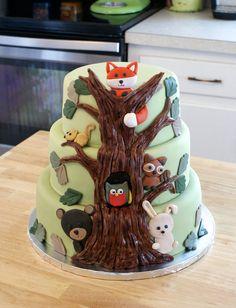 Woodland Themed Baby Shower Cake - Cakes by Meg