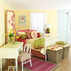 Pink and yellow bedroom with a touch of lime.  Hike the Versatility