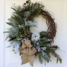 Owl Wreath-Christmas Wreath-Holiday Wreath-Winter Wreath-Natural Christmas-Natural Wreath-Designer Decor-Burlap Wreath-Woodland Wreath