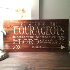 Ready to ship! Joshua 1:9 Be Strong And Courageous hand painted wood sign 21x10.5 inch rustic wall art nursery decor for baby boy or girl by SweetFaceDesign on Etsy