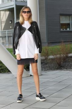 black, white & a little bit of fringe. Tine in Stockholm. #TheFashionEaters
