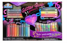 Elmer's Glitter Glue Pens add a new dimension to writing and painting with colors. Make your artwork pop in with these glitter pens! Baby Girl Toys, Toys For Girls, Project Mc2 Toys, Num Noms Toys, Elmer's Glitter Glue, Unicorn Surprise, Frozen Coloring Pages, Slime No Glue, Barbie Kitchen