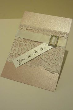 Ivory Vintage Lace Wedding Invitation & RSVP - with diamante buckle. $400.00, via Etsy.